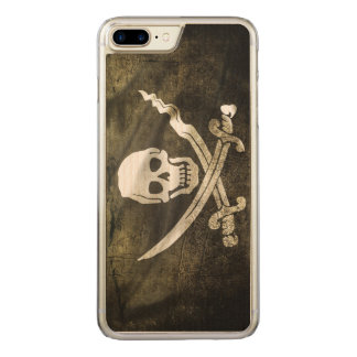 Pirate Skull in Cross Swords Carved iPhone 7 Plus Case