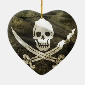 Pirate Skull in Cross Swords Ceramic Ornament