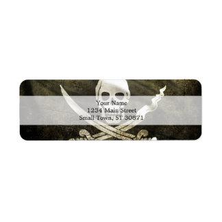 Pirate Skull in Cross Swords Label