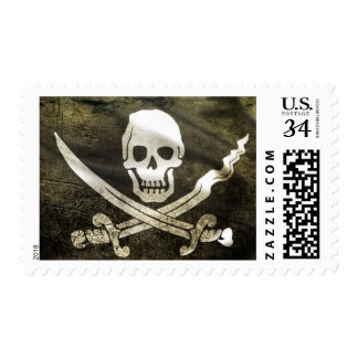 Pirate Skull in Cross Swords Postage