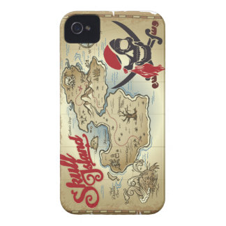 Pirate Skull Island Location Map iPhone 4 Case