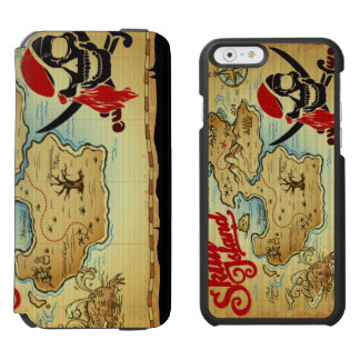 Pirate Skull Island Location Map iPhone 6/6s Wallet Case