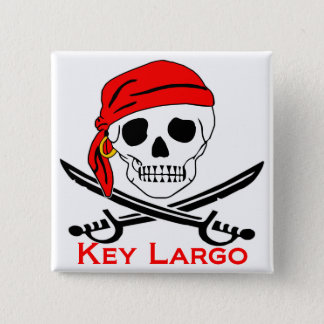 Pirate Skull Key Largo Key West Pinback Button