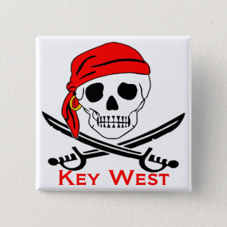 Pirate Skull Key West Button