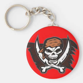 Pirate Skull Keychain Round Red