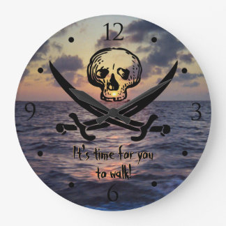Pirate Skull Ocean Sunrise Custom Large Clock