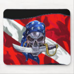 Pirate Skull on Dive Flag Mouse Mat