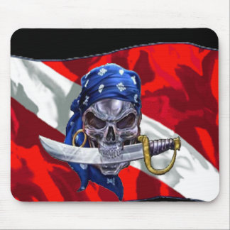 Pirate Skull on Dive Flag Mouse Pad