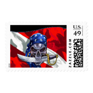 Pirate Skull on Dive Flag Stamp