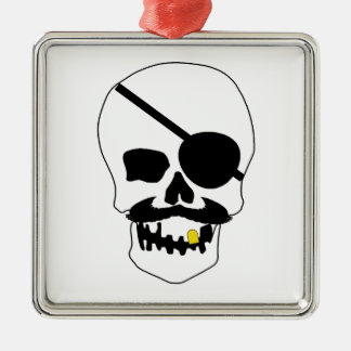 Pirate Skull Square Metal Christmas Ornament