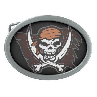 Pirate Skull Oval Belt Buckle