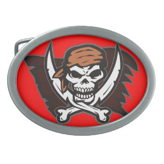 Pirate Skull Oval Belt Buckle Red