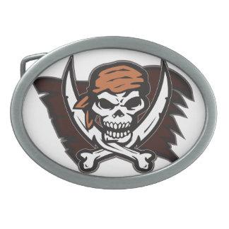 Pirate Skull Oval Belt Buckle White