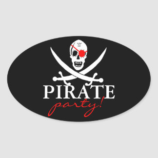 Pirate Skull- Party! Oval Sticker