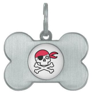 Pirate Skull Pet Name Tag