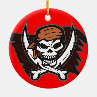 Pirate Skull Red Round Ornament