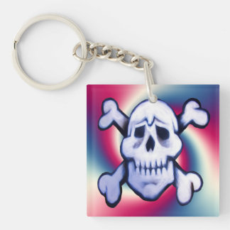 pirate skull retro key protector key fob Double-Sided square acrylic keychain