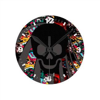 pirate skull round clock