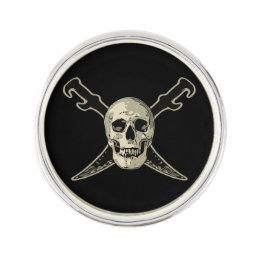 Pirate (Skull) - Round Lapel Pin, Silver Plated Lapel Pin