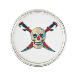 Pirate (Skull) - Round Lapel Pin, Silver Plated Pin