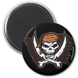 Pirate Skull Round Magnets Black