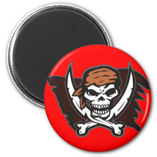 Pirate Skull Round Magnets Red