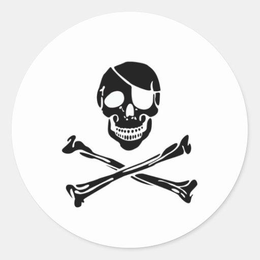 Pirate Skull Round Stickers