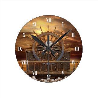 Pirate Skull Rudder Wall Clock