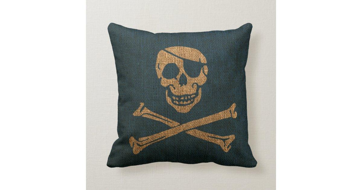 Deep Blue Throw Pillows : Pirate Skull Rustic Deep Sea Blue Throw Pillows Zazzle