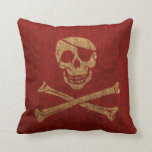 Pirate Skull Rustic Red Pillows