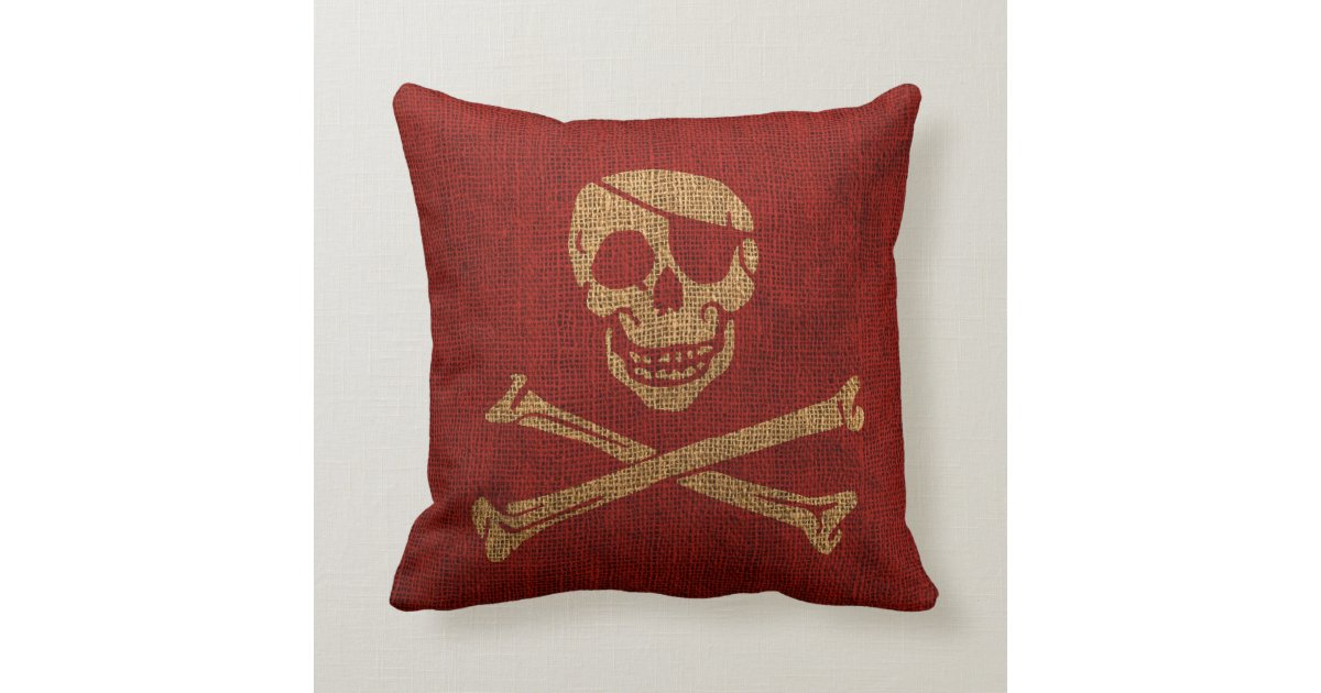Pirate Skull Rustic Red Throw Pillow Zazzle