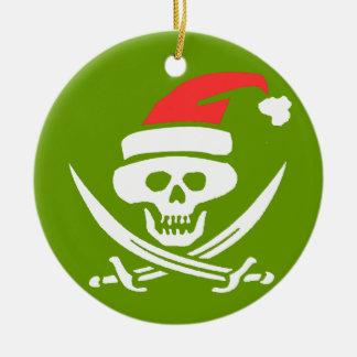 Pirate Skull Santa Jolly Roger Ceramic Ornament