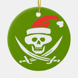 Pirate Skull Santa Jolly Roger Ornament