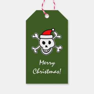 Pirate skull Santa Merry Christmas blank Holiday Gift Tags