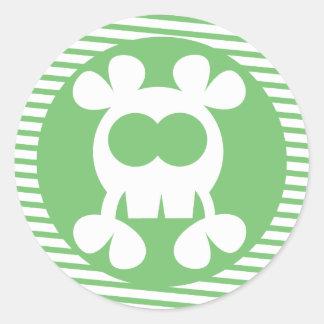 Pirate Skull Sticker Green Stripe