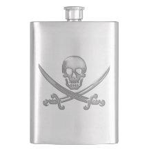 Pirate Skull & Sword Crossbones (TLAPD) Hip Flasks