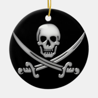 Pirate Skull & Sword Crossbones (TLAPD) Double-Sided Ceramic Round Christmas Ornament