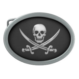 Pirate Skull & Sword Crossbones (TLAPD) Oval Belt Buckle