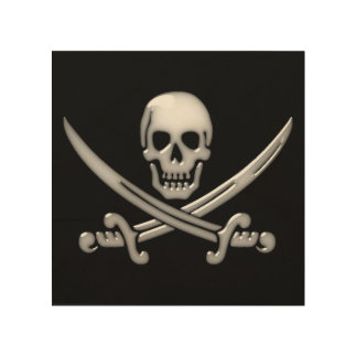 Pirate Skull & Sword Crossbones (TLAPD) Wood Print