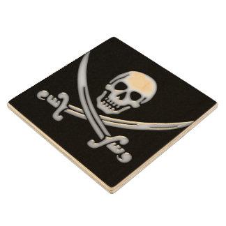 Pirate Skull & Sword Crossbones (TLAPD) Wooden Coaster