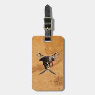 Pirate Skull Swords And Map Bag Tag