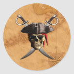 Pirate Skull Swords And Map Classic Round Sticker