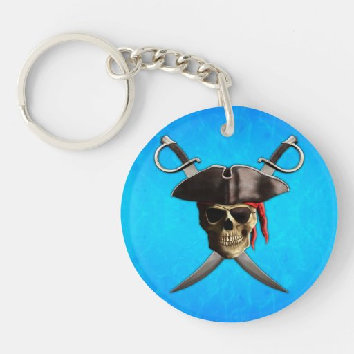 Pirate Skull Swords Double-Sided Round Acrylic Keychain