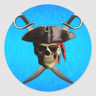 Pirate Skull Swords Round Stickers