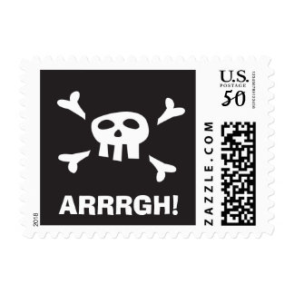 Pirate skull, talk like a pirate day postage stamp