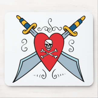 Pirate Skull Tattoo Mouse Pad