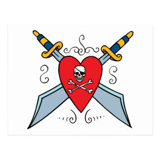 Pirate Skull Tattoo Postcard