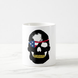 Pirate Skull Wearing US Flag Eye Patch Coffee Mug