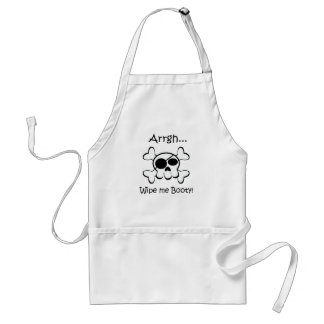 Pirate Skull Wipe Me Booty Adult Apron