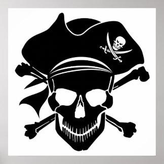 Pirate Skull with Cross Bones Poster